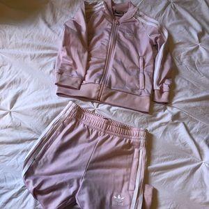 Pink Girls Adidas Tracksuit